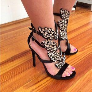 Windsor store-black heels with rhinestones.
